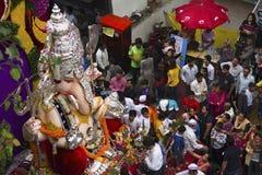 PUNE, INDIA, September 2016, People at Ganesh festival procession. Tulshibag Ganapati. PUNE, INDIA, September 2016, People at Ganesh festival procession with stock images