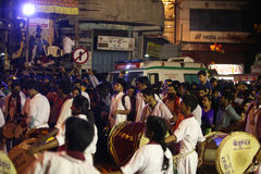 Pune, India - September 27, 2015: People in India dancing on the Royalty Free Stock Photo