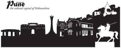 Pune, India. Vector illustration of the cityscape skyline of Pune, India royalty free illustration