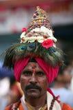 Pune, la India - 11 de julio de 2015: Un retrato de un Vasudev, peregrinos w Fotografía de archivo