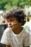 PUNE, MAHARASHTRA, INDIA, 15 Aug 2018, Small baby with Indian tri color painted on cheek celebrating Independence Day stock photos