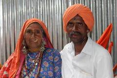 PUNE, MAHARASHTRA, INDIA, July 2015, Couple, man and women warkari at Pandharpur Palkhi. PUNE, MAHARASHTRA, INDIA, July 2015, Couple man and women warkari at stock photography