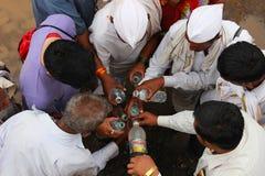 PUNE, MAHARASHTRA, INDIA, June 2016, Pilgrims or warkari filli up the water bottles, Pandharpur Palkhi. PUNE, MAHARASHTRA, INDIA, June 2016, Pilgrims or warkari stock photography