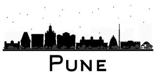 Pune skyline black and white silhouette. Royalty Free Stock Image