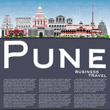 Pune Skyline with Color Buildings, Blue Sky and Copy Space. Stock Photos