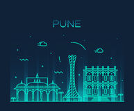 Pune skyline trendy vector illustration linear Royalty Free Stock Photos