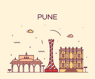 Pune skyline trendy vector illustration linear Stock Photos