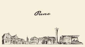 Pune skyline vector illustration hand drawn Royalty Free Stock Image