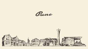 Pune skyline vector illustration hand drawn Royalty Free Stock Image