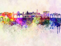 Pune skyline in watercolor Stock Image