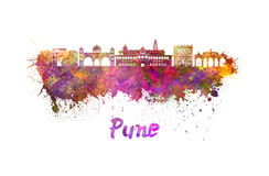 Pune skyline in watercolor Royalty Free Stock Images