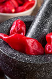 Pungent peppers bhut jolokia on stone mortar Stock Photos