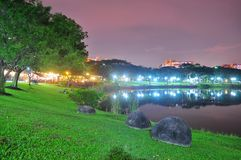 Punggol park with eateries by the pond Royalty Free Stock Images