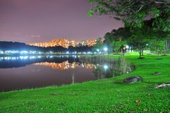 Punggol park with pond and reflections on it Royalty Free Stock Images