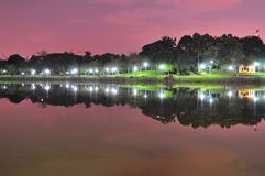 Punggol Park with reflections by night Royalty Free Stock Image