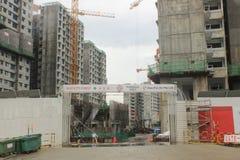 Punggol Singapore, konstruktionsplats royaltyfri bild