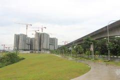 Punggol Singapore, konstruktionsplats och parkerar royaltyfria bilder