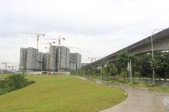 Punggol Singapur, Baustelle und Park Lizenzfreie Stockbilder