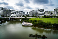 Punggol water town neighbourhood Singapore. Waterway across Punggol heartland flowing under ARC bridge Stock Photography