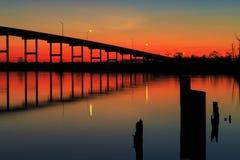 Pungo Ferry Bridge Sunset Stock Photography