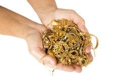Punhado do ouro pronto para vender para o dinheiro Imagem de Stock Royalty Free