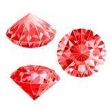 Punhado isolado de rubis vermelhos Imagens de Stock Royalty Free