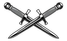 Punhal cruzado ilustração do vetor