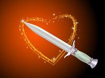 Punhal e coração brilhante Ilustração do Vetor