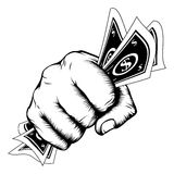 Punho da mão com ilustração do dinheiro Fotos de Stock Royalty Free