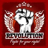 Punho da revolução Mão humana acima Luta para o seu Fotos de Stock Royalty Free
