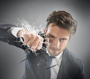 Punho do homem de negócios determinated Fotografia de Stock