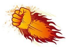 punho e flama ilustração royalty free