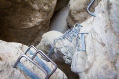 Punhos das escadas do ferro Imagens de Stock Royalty Free
