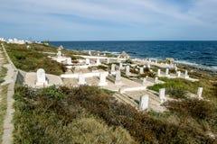 Punic Kirchhof auf der Mittelmeerküste zu Mahdia Lizenzfreies Stockbild