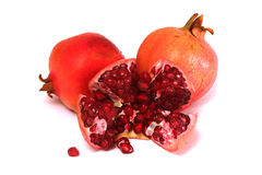 Punica granatum L. or pomegranate. With white isolated background stock photo