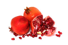 Punica granatum L. or pomegranate. With white isolated background Royalty Free Stock Photos