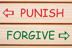Punish Forgive Opposite Words. Opposite words Punish or Forgive written on wood wall decor royalty free stock photography