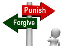 Punish Forgive Signpost Shows Punishment Royalty Free Stock Image