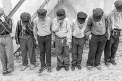 Punished boys - spectacle. Spectacle with children in Den Gamle By - The Old Town Museum in Aarhus, Denmark September 2017 See how Danish children and young Stock Photography
