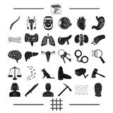 Punishment, medicine, training and other web icon in black style.robbery, justice, prison, icons in set collection. Royalty Free Stock Images