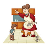 Punishment for son. Vector cartoon illustration of where the mother scolds his son Stock Images