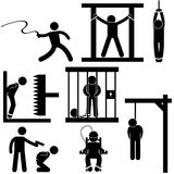 Punishment Torture Justice Death  Execution. A set of pictogram representing punishment, torture, execution and death penalty Stock Photo