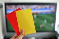 Punition du football de carte rouge Photographie stock