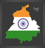 Punjab map with Indian national flag illustration. In artwork style Royalty Free Stock Images