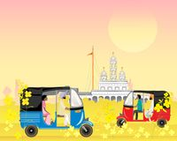 Punjab traffic with rural sikh temple. An illustration of punjab taxis in an indian landscape with a sikh temple in evening sunshine Royalty Free Stock Image