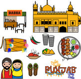 Punjab Vector icons. Vector Icons depicting the culture of Punjab, India Stock Photography