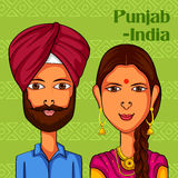 Punjabi Couple in traditional costume of Punjab, India. Vector design of Punjabi Couple in traditional costume of Punjab, India Royalty Free Stock Images