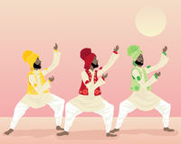 Punjabi dance. An illustration of three male punjabi dancers in colorful traditional clothing dancing under a warm sun Royalty Free Stock Photo