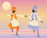 Punjabi dancers. An illustration of two male punjabi dancers with colorful traditional clothing dancing under at sunset Stock Images