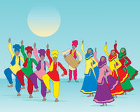 Punjabi folk dance. An illustration of a punjabi folk dance with men and women in traditional dress and musician on a blue green background Royalty Free Stock Image